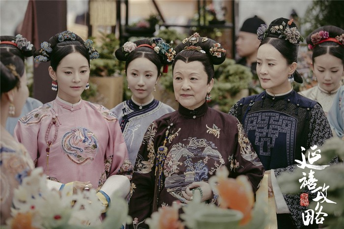 "Women in traditional Chinese attire, in a scene from the iQiyi original program ""Story of Yanxi Palace."""