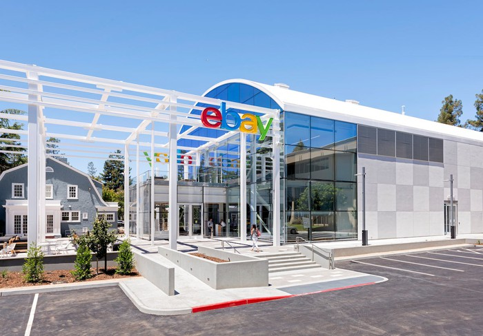 The eBay logo at the entrance to the company's campus in San Jose.
