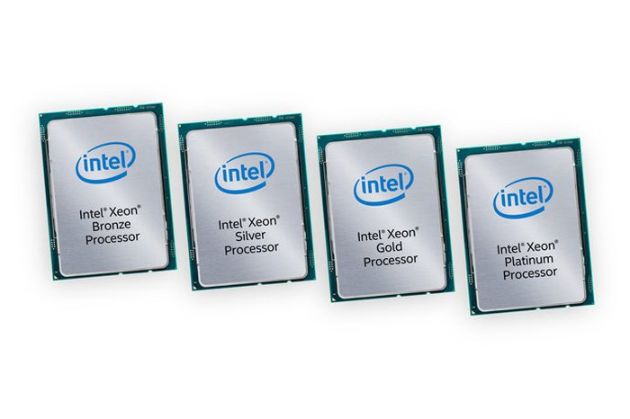 Four Intel Xeon Scalable chips in a row.