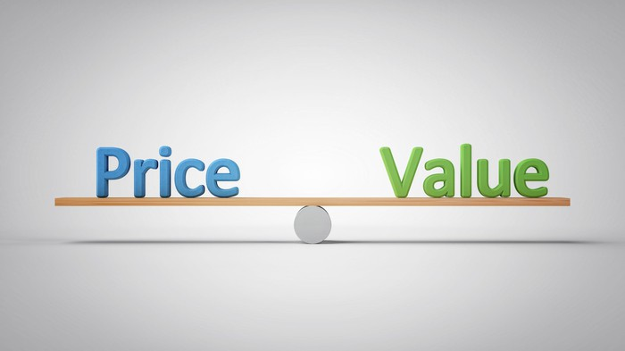 The words price and value balanced on a seesaw