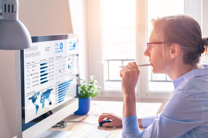 Woman looking at a computer screen showing graphs and data