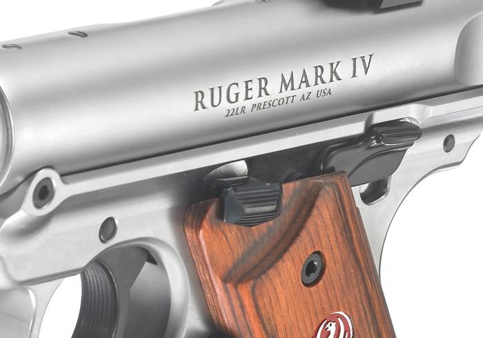 Close-up of a Ruger Mark IV pistol