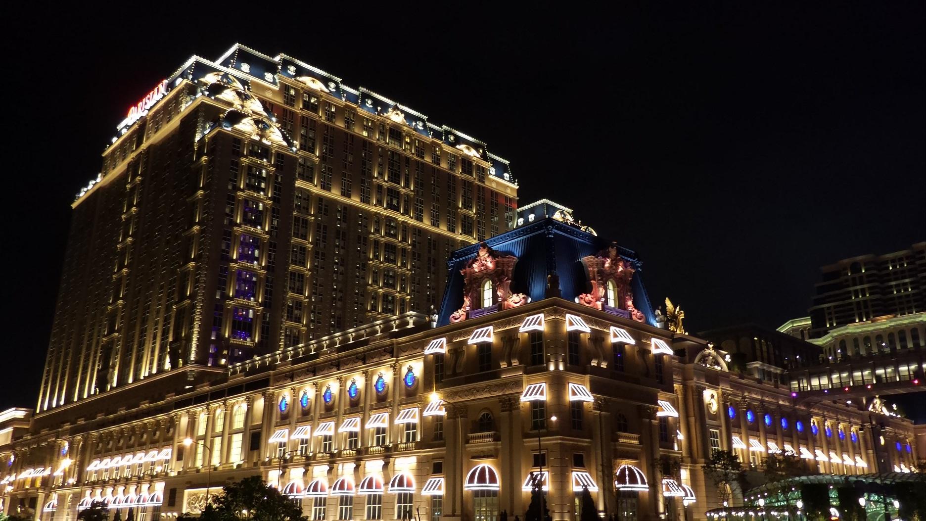 Parisian Macao hotel and resort at nighttime.