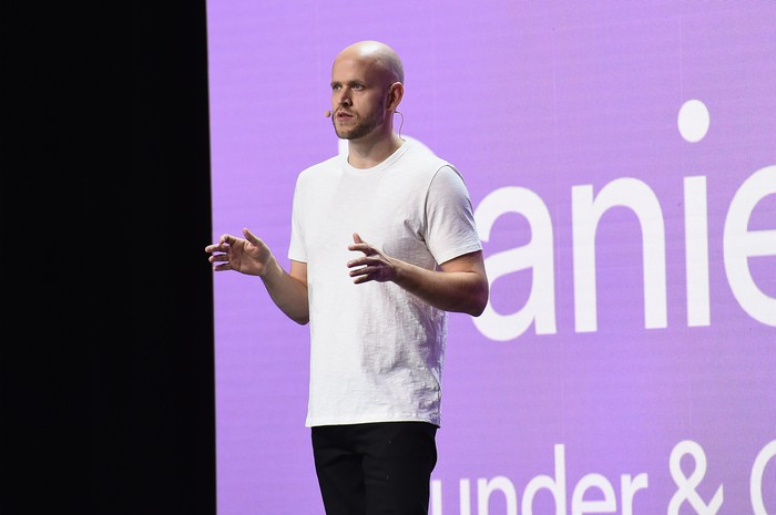 Daniel Ek speaking on a stage