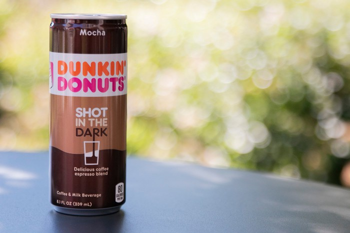 "Product shot of tall, slim, mocha-flavored ""Shot in the Dark"" can."