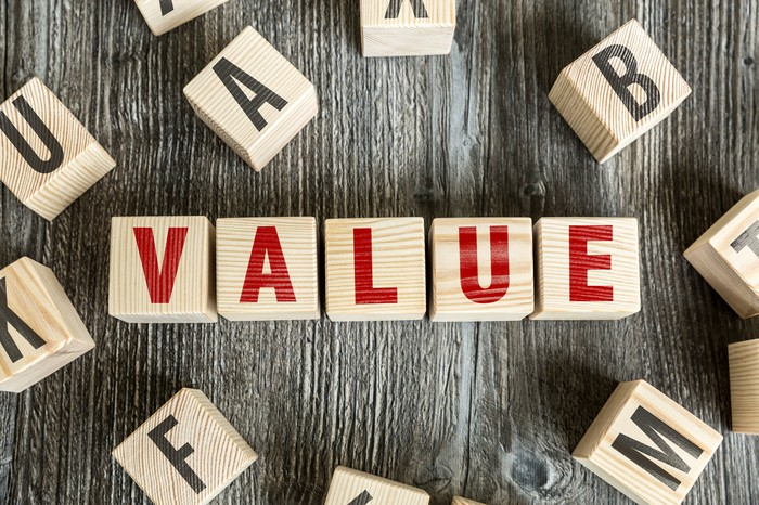 The word value spelled out with wooden blocks.