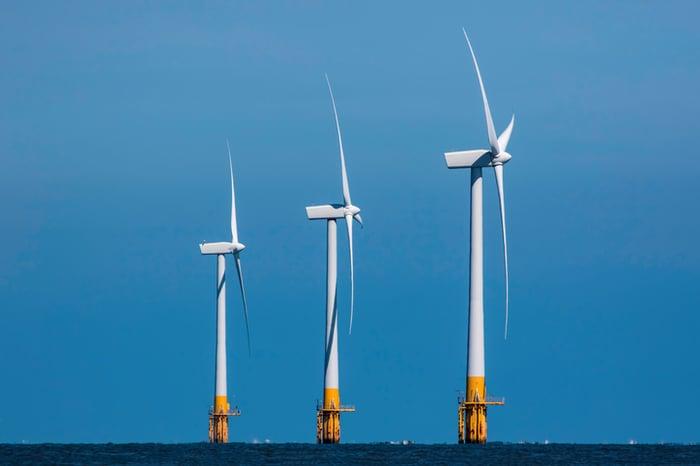 Offshore wind turbines.