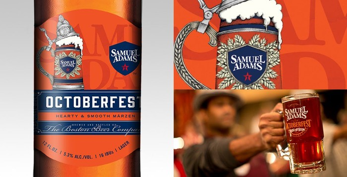Collage of Boston Beer Octoberfest Bottle and mugs