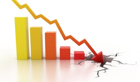 BArchart with arrow crashing into the ground