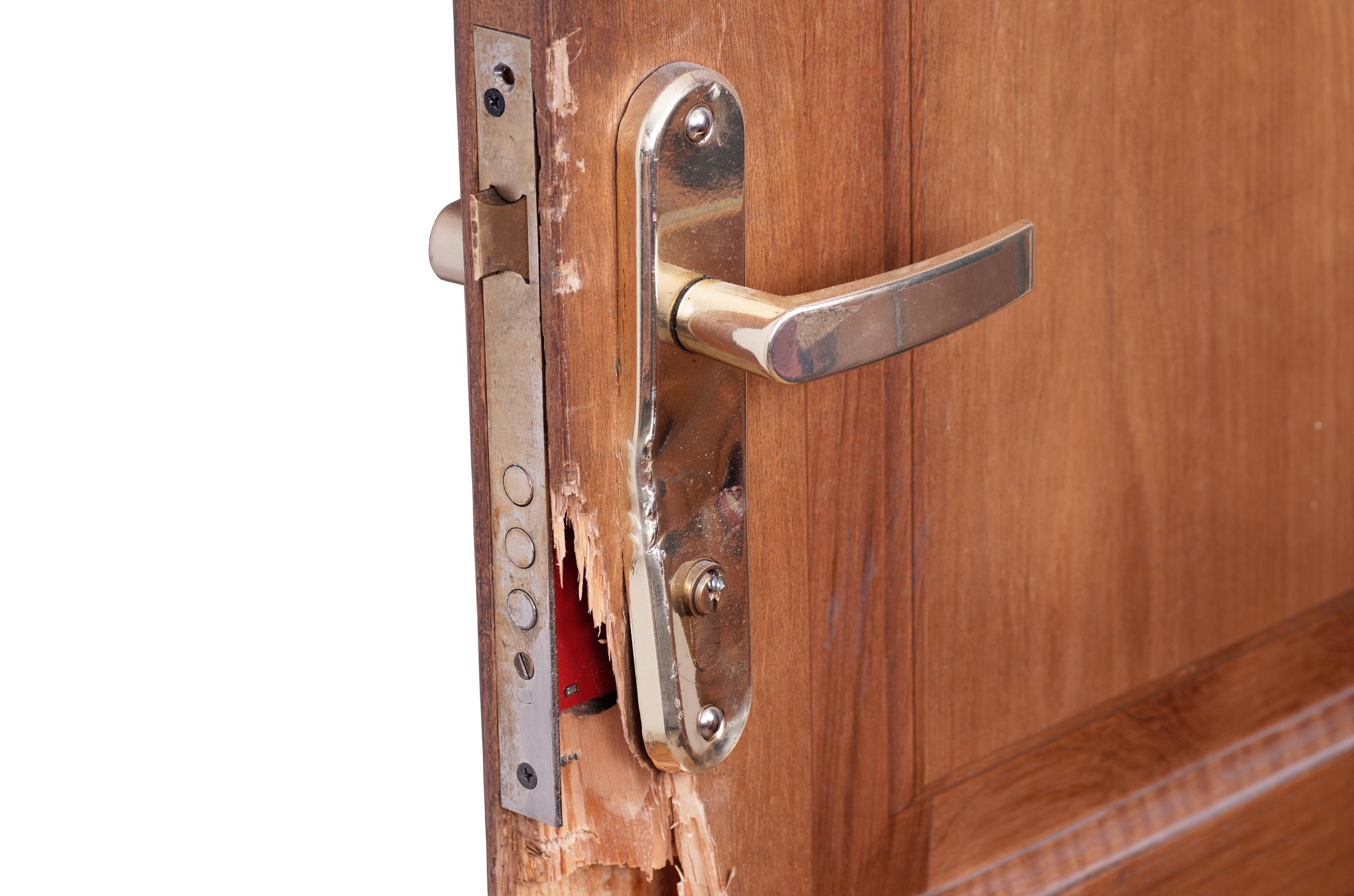 A broken door in someone's home