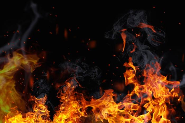 Flames and smoke