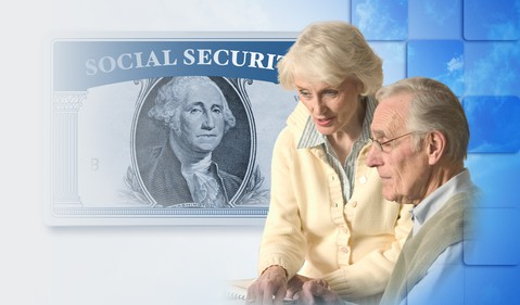 Senior man and woman, social security superimposed over dollar bill