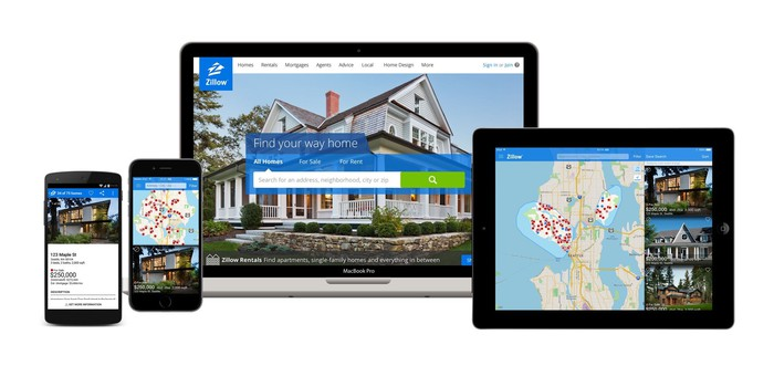 Zillow's app running on various devices.