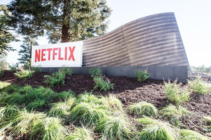The Netflix logo outside company headquarters