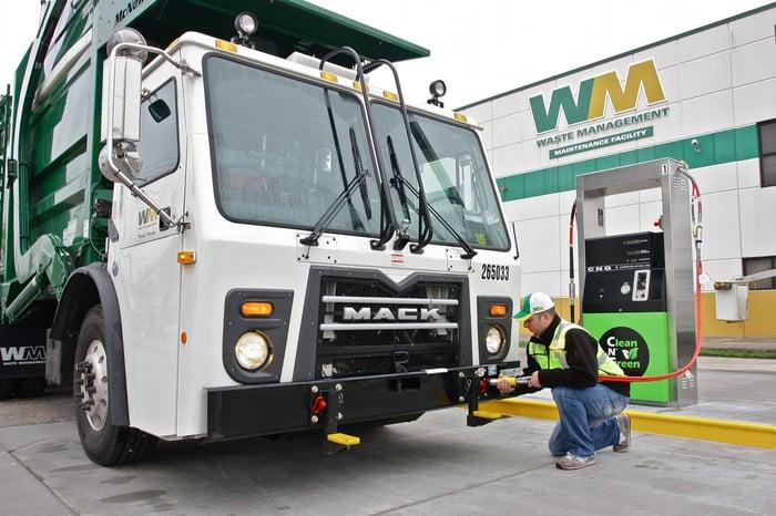 A waste management truck.