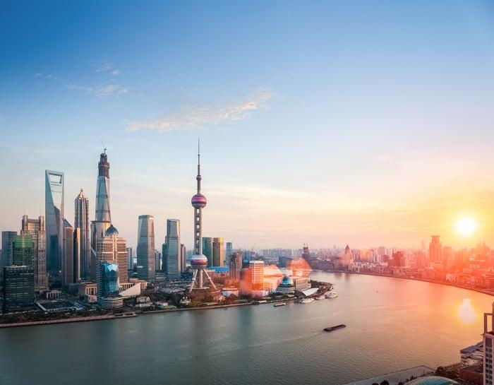 Sun rising over Shanghai