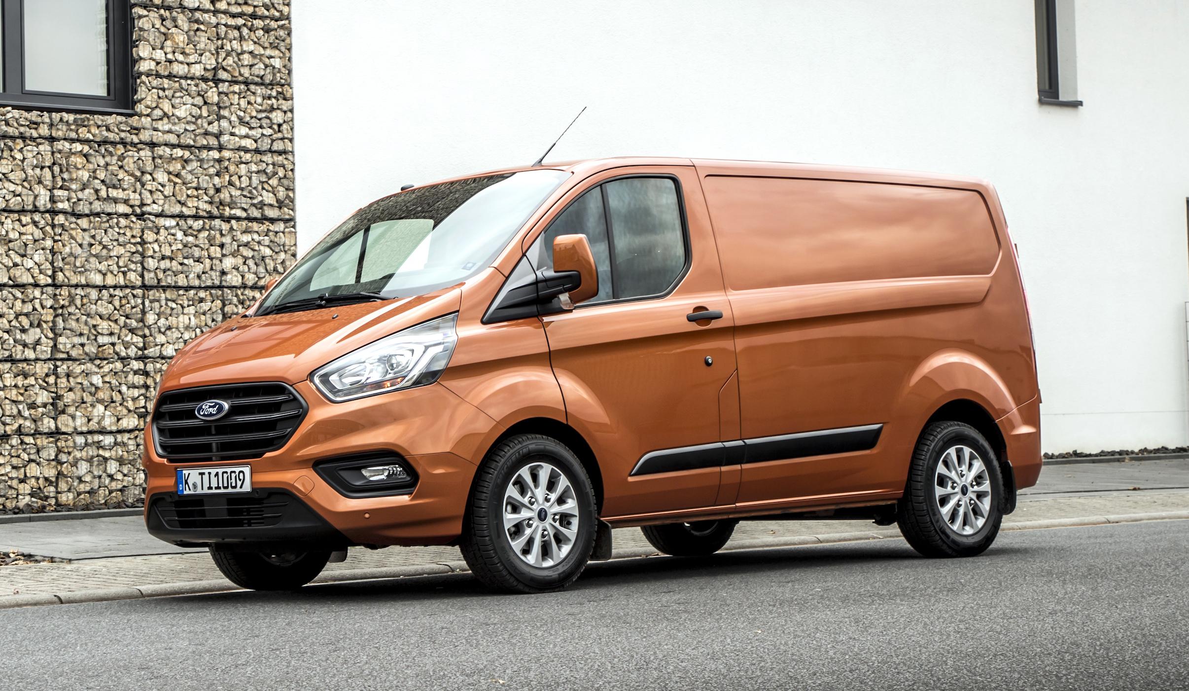 A European-spec Ford Transit Custom, a midsize commercial van