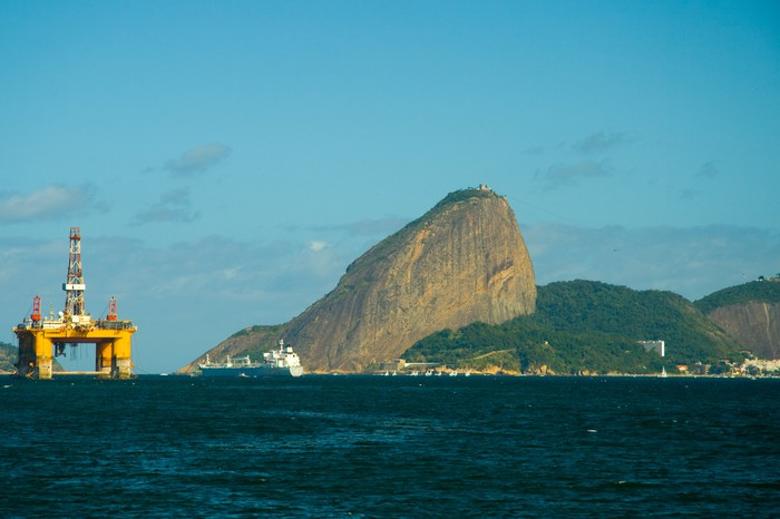 An offshore oil platform in Brazil.