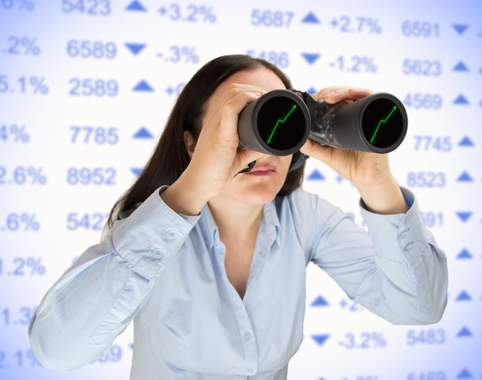 A woman looking through binoculars with rising arrows on the lenses, with a stock chart in the background