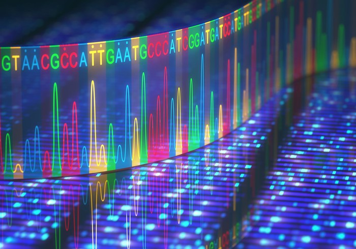 Colorful sequence of DNA code as read by a sequencer.