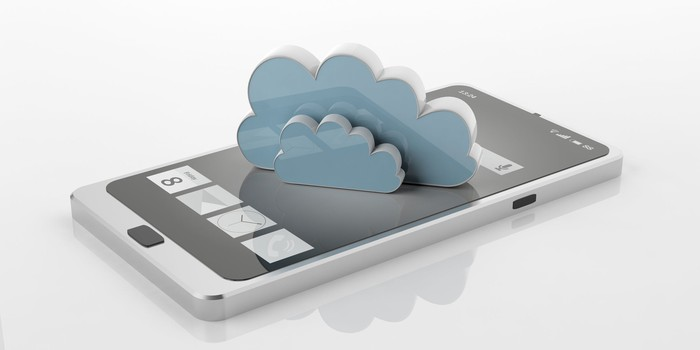 Digital rendering of a smartphone with two cartoonish clouds rising out of the screen.