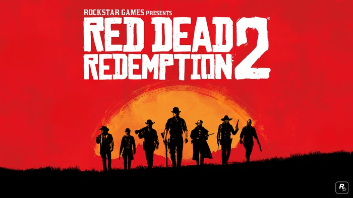 """A group in silhouette underneath the words """"Red Dead Redemption 2"""" set against a red and orange painted background depicting a sunset."""