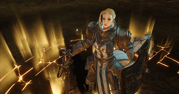 A female, crusader-class character from Diablo Immortal.