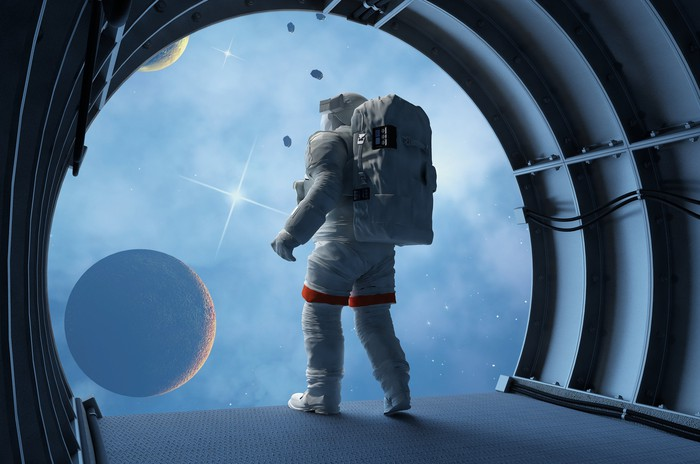 Painting of a fully suited astronaut gazing through a giant circular window at a moon