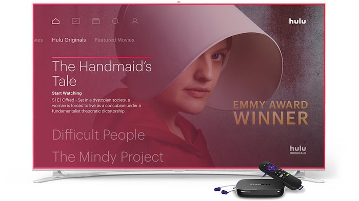 A video screen showing The Handmaid's Tale from Hulu Live on Roku