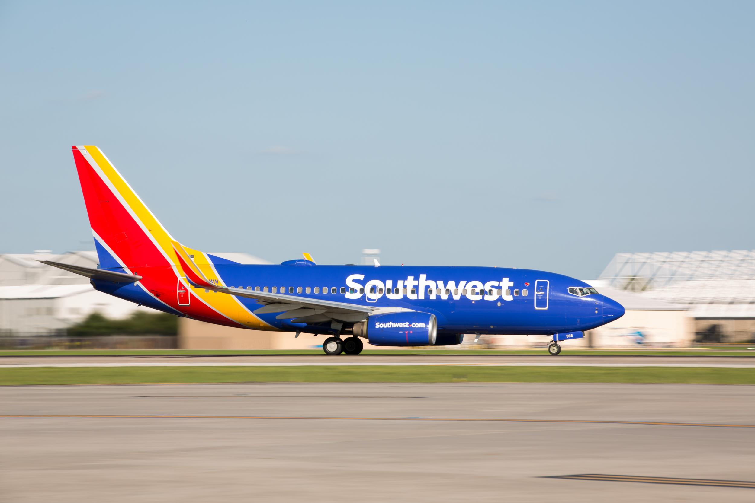 A Southwest jet preparing to land.