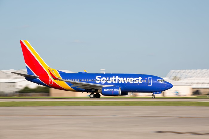 A Southwest jet preparing to land.