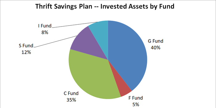 Pie chart showing allocations in Thrift Savings Plan by fund.