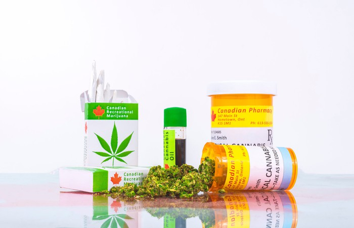 An assortment of legal Canadian cannabis products on a countertop.