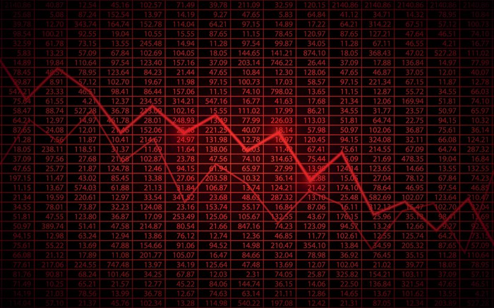 Red stock chart going down.