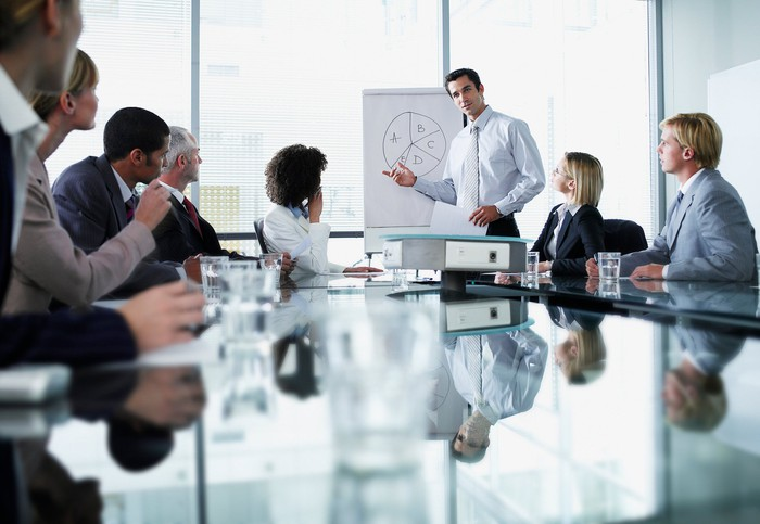 Man presenting to a group of professionally dressed people
