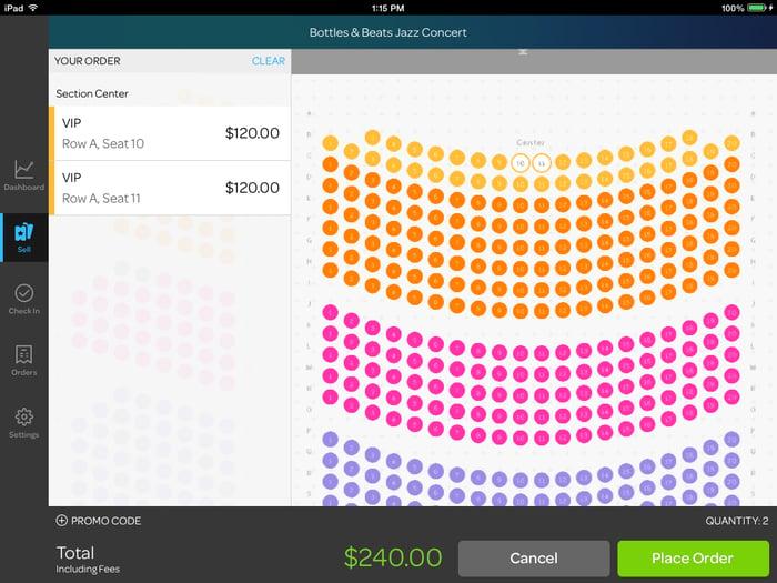 Eventbrite ticket reservation interface on a website.