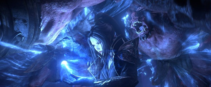 A sorceress casting a spell against an enemy in Diablo Immortal.