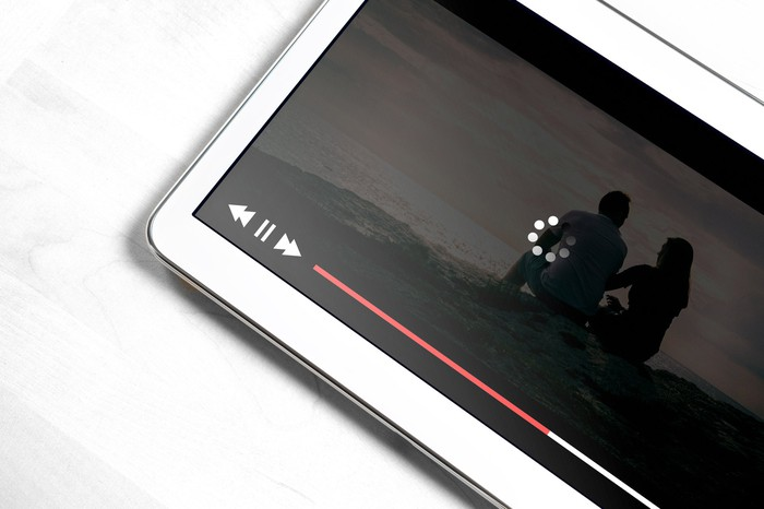 Video streaming on a mobile phone.