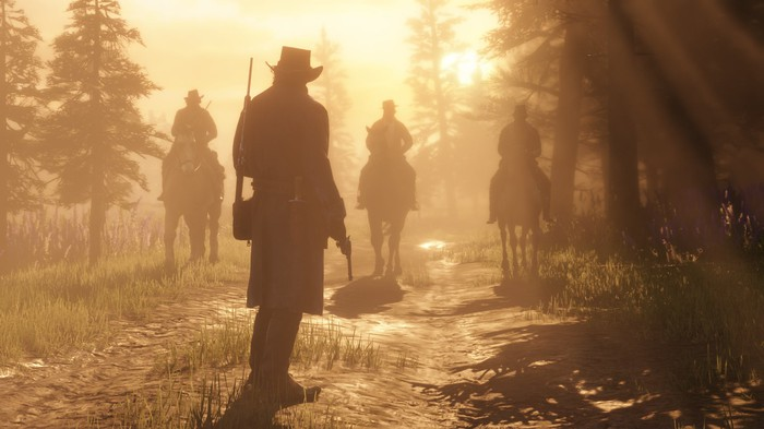 Four cowboys in Red Dead Redemption 2.