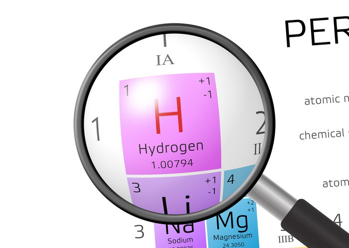 A magnifying glass rests on hydrogen as it appears on the periodic table of elements.