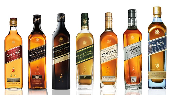 Various labels of Johnnie Walker scotch whiskey lined up
