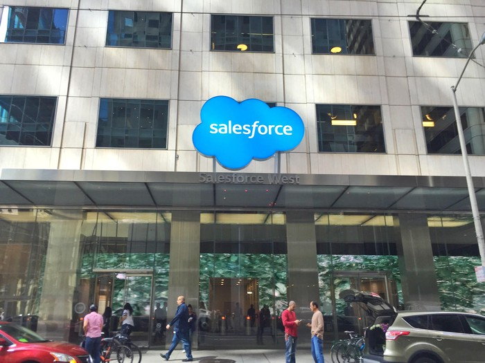 People walking about and standing in front of a large building with the Salesforce logo over the entrance.