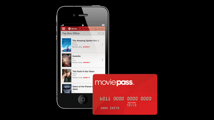 MoviePass app on a smartphone and a MoviePass debit card.