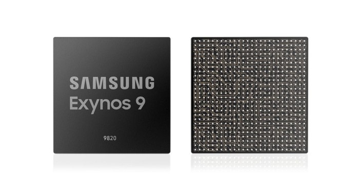 Front and back shots of Samsung's Exynos 9820 chip.