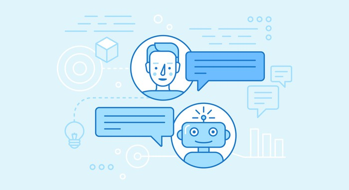 Illustration of person conversing with a chatbot