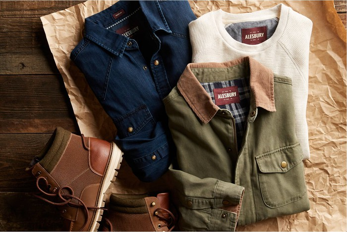 Three shirts and a pair of boots from Stitch Fix's brand Alesbury.