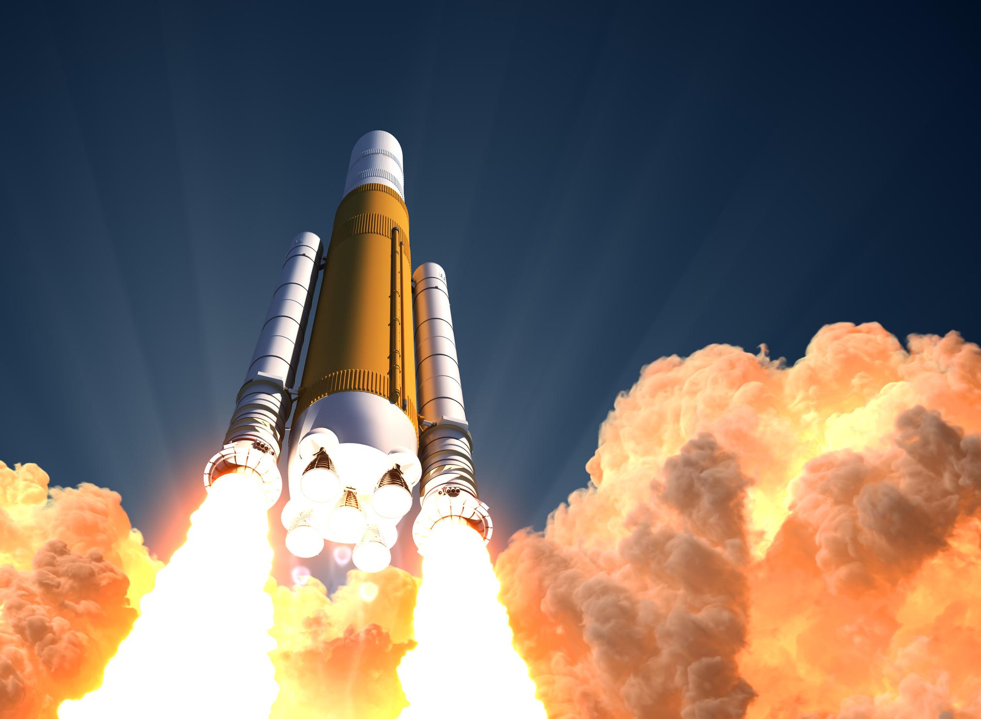 A rocket taking off.