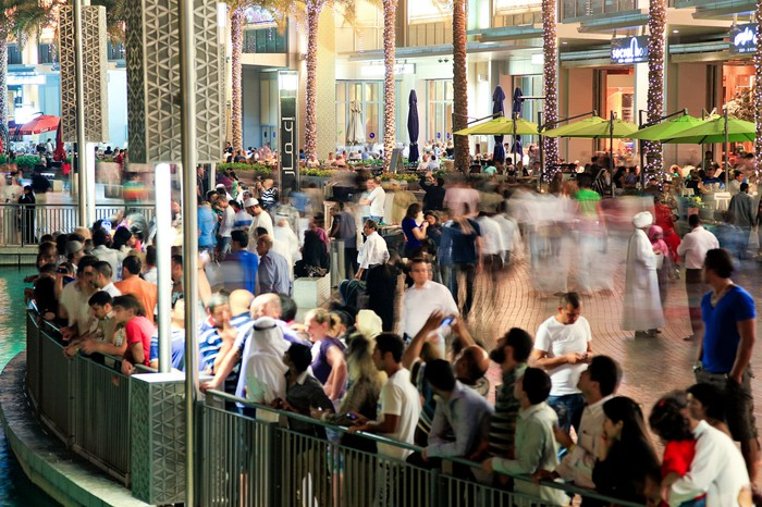 Holiday shopping crowd at a mall.