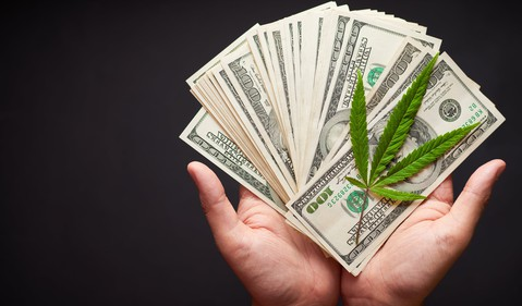 Hands holding $100 bills and a cannabis leaf