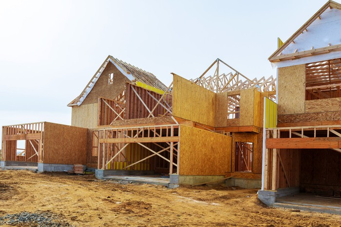Homes under construction.